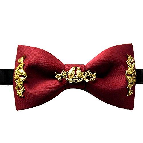 Haut Luxe Noeud Papillon Avec Du Coton Marshal Vin Rouge Vin Rouge