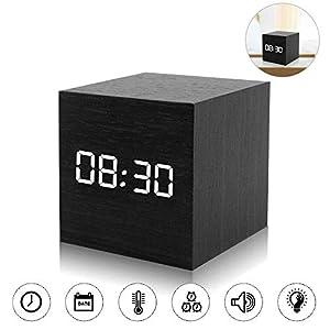 ASANMU LED Digital Wecker, Mini Holz Wecker Digital LED Hölzerne Digitaler Wecker Tischuhr Reisewecker Uhr Zeit Datum…