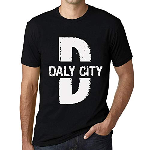Herren Tee Männer Vintage T shirt Letter D Countries and Cities DALY CITY Schwarz