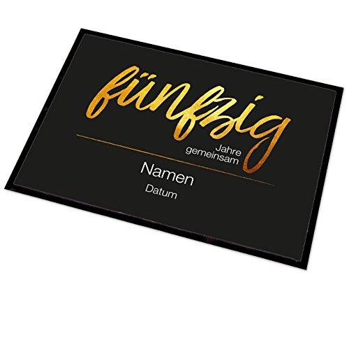 Fünfziger-jahre-möbel (Herz & Heim® Fußmatte zur Goldenen Hochzeit - Fünfzig Jahre gemeinsam - mit Namen und Datum)