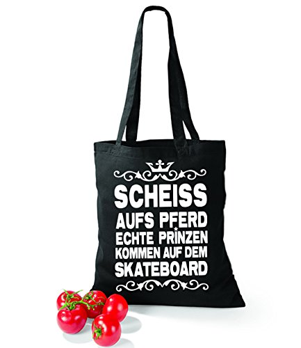 Artdiktat Baumwolltasche Scheiß auf´s Pferd - Echte Prinzen kommen auf dem Skateboard yellow schwarz