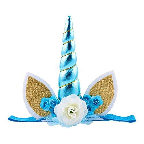 (Colorfulworld Einhorn Horn Stirnband Spiral Einhorn-Kopfschmuck Cosplay Dekor (Blau))