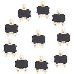 ULTNICE Mini Tableaux Noirs Ardoises en Bois avec Chevalet pour Nom Cartes Réception Mariage Numéro de Table et Prix 10pcs