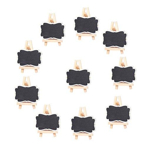 OULII Mini-Tafel, Kreidetafel-Schild, Hochzeits-Tafel für Memos und Nachrichten, Kunsthandwerk für Kinder, Garten, gerahmte Tafel-Tischkarte mit Staffelei, Weihnachtsgeschenk, Größe L, 10er-Pack (Gerahmte Große Tafel)