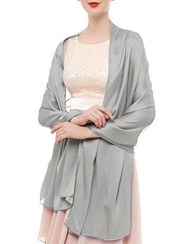 Bridesmay Donna Elegante Seta Sciarpe Morbido Collo Solido Avvolge Scialli Silver Grey