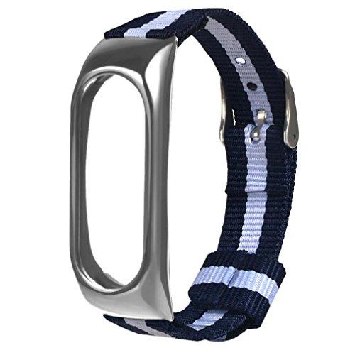 Jintime Für Xiaomi Mi Band 2 Mode Navy Nylon Canvas Strap mit Uhr Lünette Ersatz Sport Armband für Männer/Dame (B) - Männer Für Sport-armband