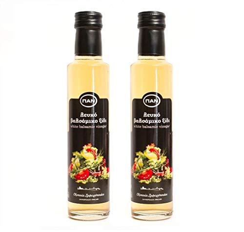 Premium Balsamico Essig weiss | ohne Zucker Zusatz | ohne Fett | mild | aus Griechenland | Balsamico Bianco | Balsamicoessig weiß | 2x 250ml Glas-Flasche