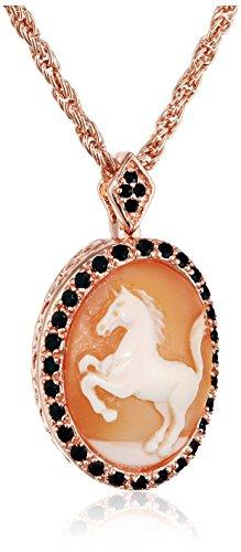Cornaline AMEDEO Coque Camée sculpté à la main en laiton et zircone cubique avec entourant Par un cheval Chaîne de 45,72 cm rose gold