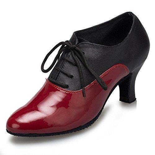 Minitoo TH159 Schnürschuh für Damen, modern, Leder, Pumps, Tanzschuhe, geeignet für Hochzeiten, Bälle, Lateinamerikanische Tänze, Tango, Rot - rot - Größe: 39 1/3