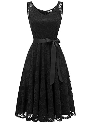 AONOUR AR8008 Damen Floral Spitze Brautjungfern Party Kleid Knielang V Neck Cocktailkleid Black L