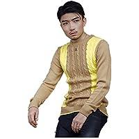ZYZHJY Suéter De Los Hombres De Cuello Redondo De Manga Larga Camisa De Fondo,Khaki,XL