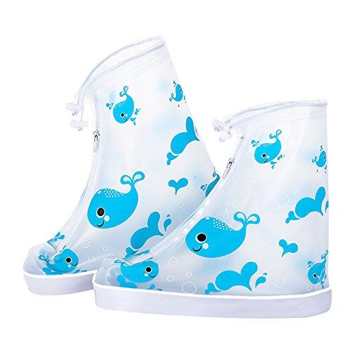 Kumkey Wasserdicht Regenschuhe Kinder Regen Überziehschuhe Schuhüberzieher Wasserabweisend Schuhüberzug Für Spazieren Gehen Wandern Radfahrer ,GEH zur Schule, Regenjacke für die Schuhe (Blau Wal, L)