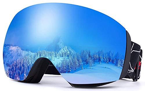REVO Ski-Brille Anti-Beschlag,UV-Schutz,OTG,Snowboard-Brille für den Schnee,Snowboard,Snowmobile,Schneebrille für Erwachsene und Jugendliche - Von EnergeticSkyTM (Schwarz-H015, REVO Lens-Eisblau)