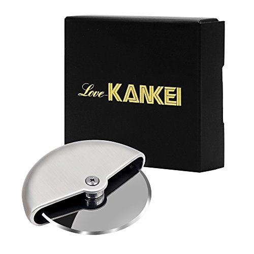 Love-KANKEI Pizza Cutter/Pizza Wheel/Pizza Slicer Stainless Steel Comfortable Palm Grip 4 inch (10 cm)