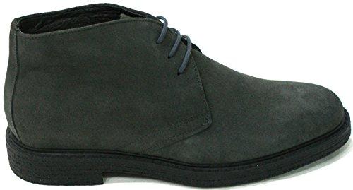 Brawn's Chaussure Hommes Cheville Sneaker lacets Suede Gris Gris