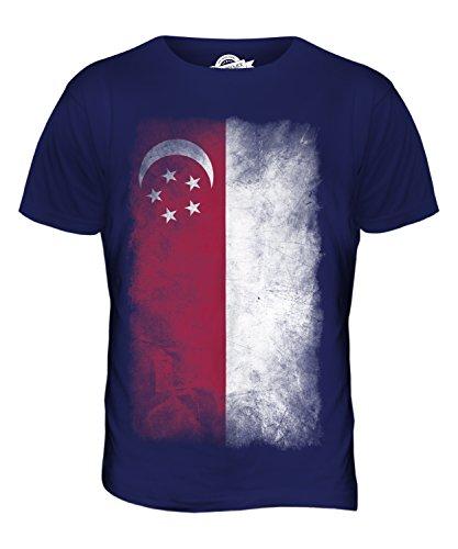 CandyMix Singapur Verblichen Flagge Herren T Shirt Navy Blau