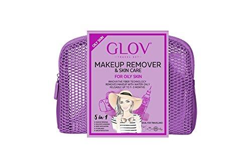 GLOV Travel Set - Violeta - Eliminar el Maquillaje con Paños de Limpieza Facial - Productos de Limpieza Desmaquillantes Reutilizable - Eliminar el Maquillaje sólo con agua