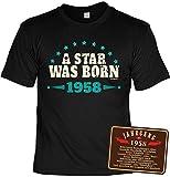 Veri zum 60. Geburtstag Opa Geschenke Set T-Shirt Herren & Metallschild mit 1958 Jahrgang Bedruckt A Star Deko Sprüche Schild Gr: M :-