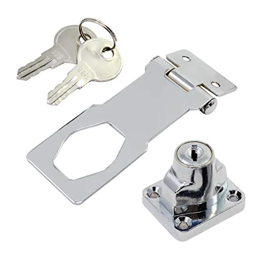DINGCHI Rotary Knob with Lock for Small Doors, Cupboards and More Steel with Chrome Key Lock, Metallics Hasp