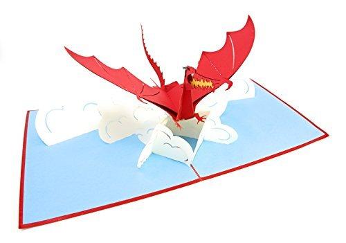 Poplife cards scheda a comparsa del giorno del papà del drago volante per tutte le occasioni festa del papà, buon compleanno, guarire, respirazione del fuoco di laurea, creatura mitica, pieghe animal