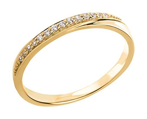 Ardeo Aurum Damenring aus 375 Gold Gelbgold mit Zirkonia im Brillant-Schliff Verlobungsring