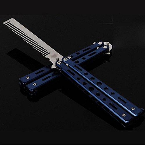 Peigne papillon d'entraînement 5 couleurs en acier par Butterfly Comb, bleu