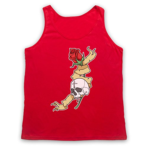 Skull & Rose Gothic Illustration Tank-Top Weste Rot