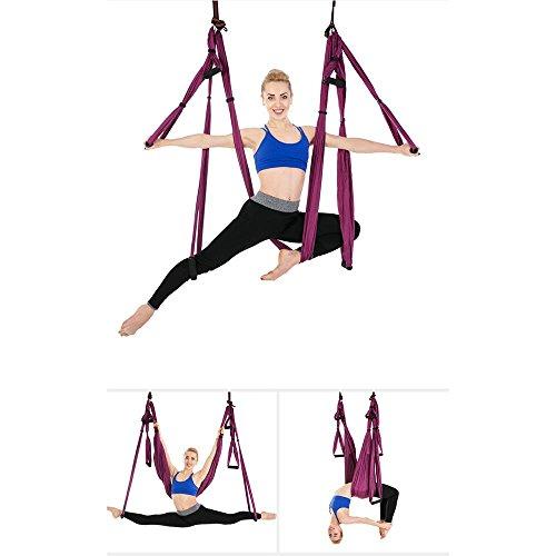 Fliege Indoor-antenne (Alger Anti-Schwerkraft Antenne Fliegen Hängematte Yoga Indoor Fallschirm Tuch Hängematte Keine Dehnung mit 6 Griffen, 250 * 150cm , Purple)
