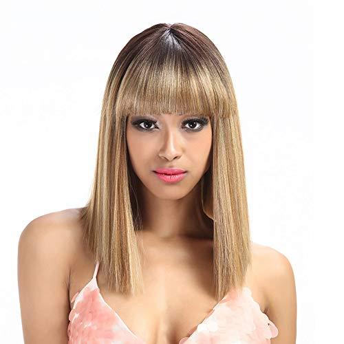 Layla Beauty Store Frauen Synthetische Haar Perücken Kurze Gerade Haar Perücke Hitze Beständig für Karneval Halloween,Brown