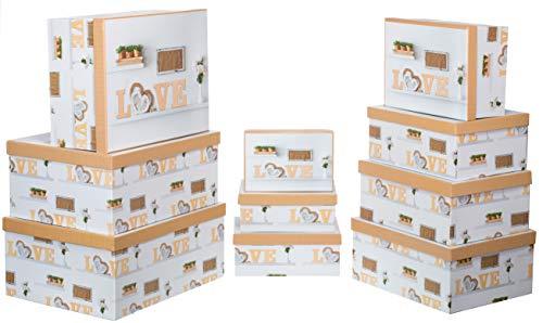 Brandsseller Geschenkbox Aufbewahrungsbox Kartenkarton mit Deckel - Stabiler Karton Stilleben - 10er Set in absteigender Größe - Bunt Love