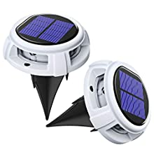 Chesbung [Upgraded Version] [2 Pack] 4 LED Solar Powered Disk Lights, 4 Lighting Modes Solar Ground Lights, Auto On/Off, IP67 Waterproof Solar Garden Lights for Yard, Deck, Lawn, Patio (White)