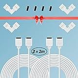 LED Strip Verlängerung, 2er-Pack 2M LED Stripe Verbinder für 4 Polig 5050 RGB LED Strip, 4er-Pack LED Strip Eckverbinder, LED Verlngerungskabel, Verlängerung Anschlusskabel (LED Strip Verlängerung)