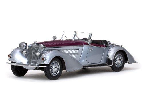 Sun Star 2402 - Sammlermodell Horch 855 Roadster 1939, silbergrau/dunkelrot, 1:18