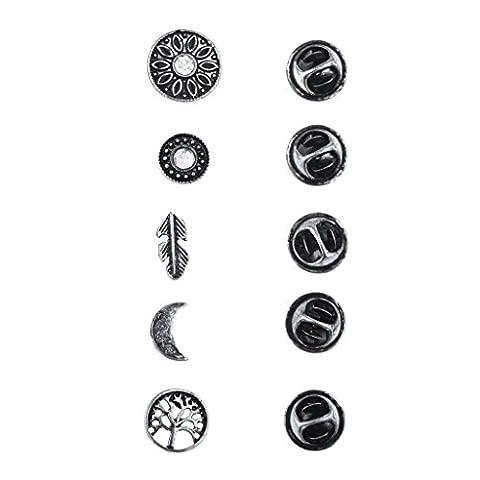 LUX Zubehör Burnish Silber Boho Burnish Finish Neuheit Pin Brosche Set (5x)
