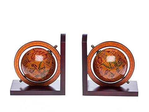 Paar Buchstützen Globus aus Holz Buchstütze Weltkarte antik Stil bookend