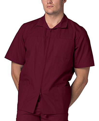 (Adar Universal Men's Zippered Short Sleeve Jacket (Available in 7 colors) - 607 - Burgundy - 3X)