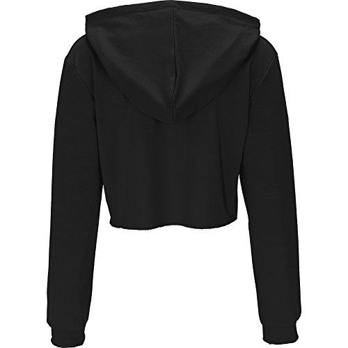 Bigood Sweat-shirt Court Femme Pull Coton Manche Longue Veste à Capuche Top Crop Casual Mode Noir
