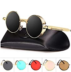 Tony Stark Steampunk Round Mirrored Men Women Sunglasses