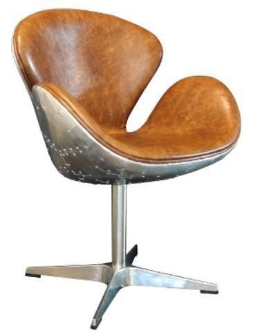 Casa Padrino Luxus Echtleder Bürostuhl Braun/Silber 72 x 63 x H. 91 cm - Designer Büromöbel