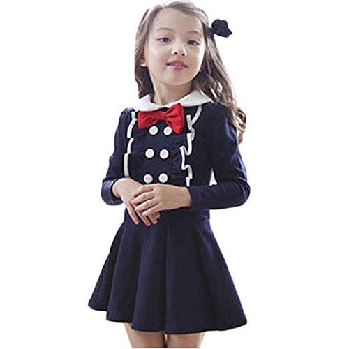 Sannysis Cute Baby-Mädchen Schmetterling Langarm Prinzessin Kleider (110, Marine)