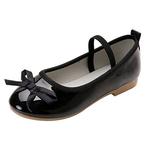Zhhlaixing Elegant Little Girls Bowknot Princess Shoes Kids Comfort Flats Shoes Black