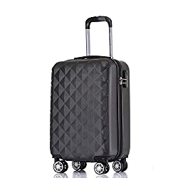 BEIBYE Zwillingsrollen 2066 Hartschale Trolley Koffer Reisekoffer Gepäck M-L-XL-Set (Schwarz, L)