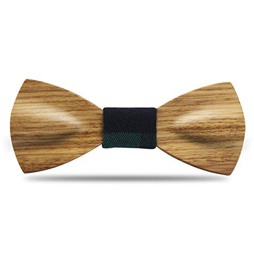 YFWOOD Holz Fliege handgefertigte Zebrawood Holz geschnitzt selbst Mens Pre Tie Kleidung Anzug Fliege mit verstellbaren Riemen -