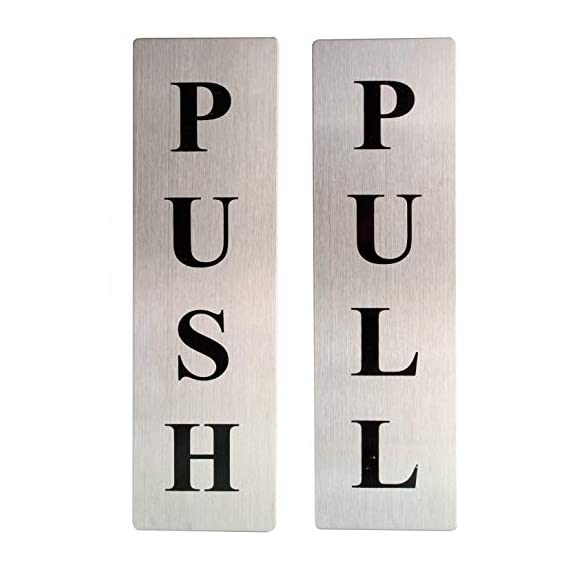 EVEZA Push Pull Sign Sticker Glass Sign Sticker for Glass Doors Office Hospital Mall Business Houses,
