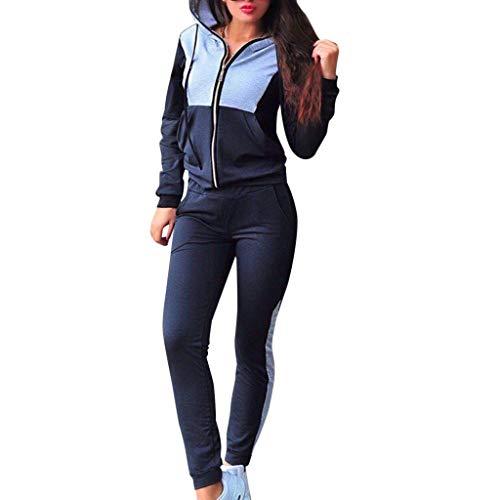 Homebaby Tuta da Ginnastica Donna Elegante Splice Tute Felpa con Cappuccio e Pantaloni Set Ragazze Giacca Pullover Tops Casual Tuta Training