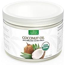 Huile de Coco Anjou, 100% Pure et Naturelle, Huile de Noix de Coco Bio de Sri Lanka, Pressée à Froid et Non Raffiné, Certifiée USDA, Coconut Oil Polyvalent pour Cheveux, Peau, Cuisine, Santé et Beauté - 325mL / 11oz