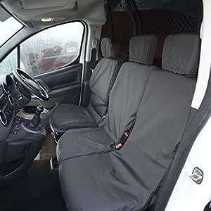 Peugeot Partner Van 2008-2018 Tailored Waterproof Front 3 Black Seat Covers