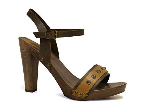 Sandali tacco legno alto in pelle di vitello marrone - Codice modello: 100 MARRONE - Taglia: 37 IT