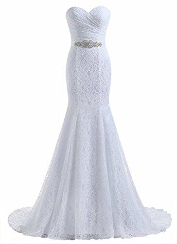 Beautyprom Frauen-Spitze-Nixe-Brautkleider (36, Weiß)