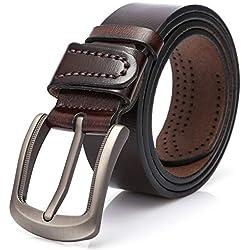 Cinturones para Hebillas,Cinturones Hombre Marron. (Marrón, 115 CM ( 30 '' - 39 '' ))